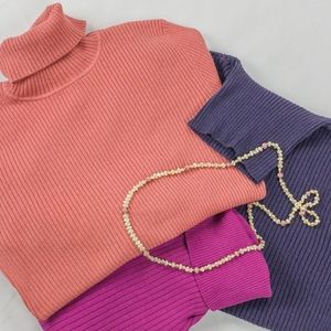 Chico's silk blend ribbed turtleneck sweater